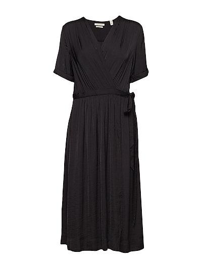 Midi Length Wrapover Dress Kleid Knielang Schwarz SCOTCH & SODA