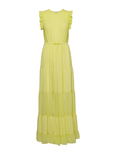 Tiered Maxi Dress With Sheer Inserts Maxikleid Partykleid Gelb SCOTCH & SODA