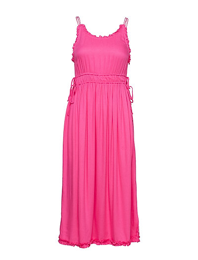Viscose Summer Midi Dress With Straps Kleid Knielang Pink SCOTCH & SODA | SCOTCH & SODA SALE