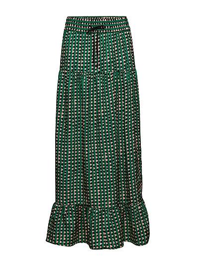 Tiered Printed Maxi Skirt Langes Kleid Grün SCOTCH & SODA