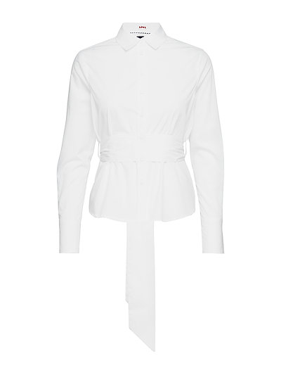 Clean Shirt With A Wrapping Strap In Waist Langärmliges Hemd Weiß SCOTCH & SODA