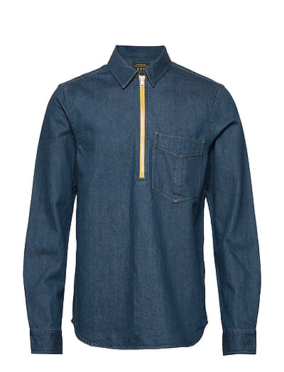 Lot 22 Popover Denim Worker Shirt With Contrast Zipper Hemd Casual Blau SCOTCH & SODA