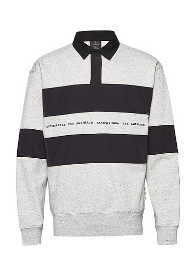 Polo Sweat With Technical Woven Details Polos Long-sleeved Grau SCOTCH & SODA