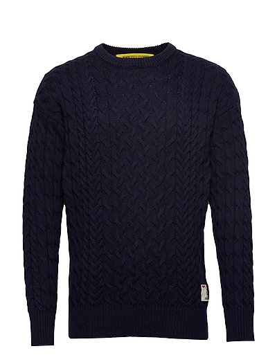 Wool/Cotton-Blend Crewneck Pull In Cable Knit Strickpullover Rundhals Blau SCOTCH & SODA