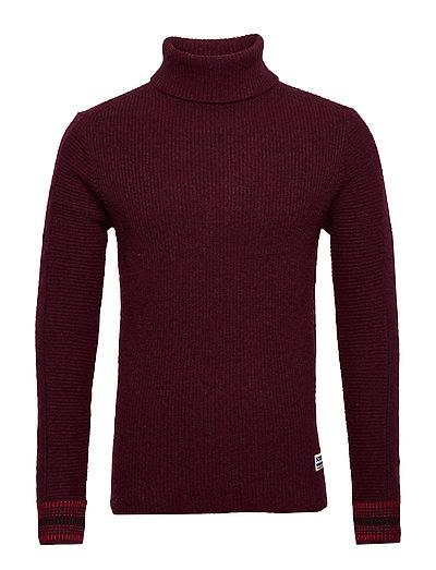 Chic Wool-Blend Turtleneck Pull In Rib Knit Knitwear Turtlenecks Rot SCOTCH & SODA