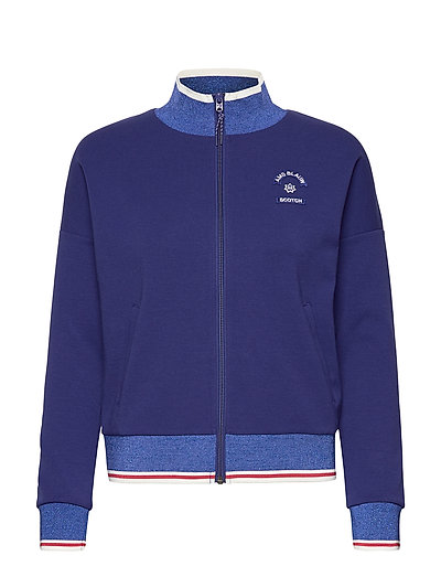 Sporty Jacket In Sweat Quality Sweat-shirt Pullover Blau SCOTCH & SODA