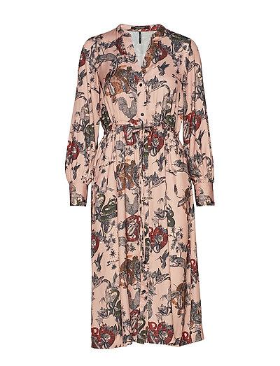 Midi Length Dress With Waist Cord Kleid Knielang Pink SCOTCH & SODA