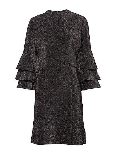 Ruffled Dress With Lurex Kleid Knielang Schwarz SCOTCH & SODA