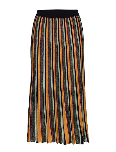 Pleated Midi Length Skirt In Multicolour Lurex Stripe Knielanges Kleid Bunt/gemustert SCOTCH & SODA