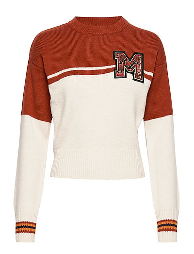 Varsity Colour Block Sweater With Badge Strickpullover Weiß SCOTCH & SODA