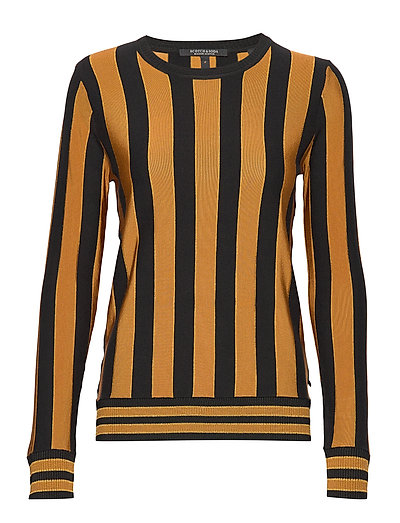 Basic Pullover In Vertical Stripe Strickpullover Orange SCOTCH & SODA