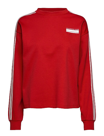 SCOTCH & SODA Cropped Sweat With Stripes On Sleeves Sweat-shirt Pullover Rot SCOTCH & SODA