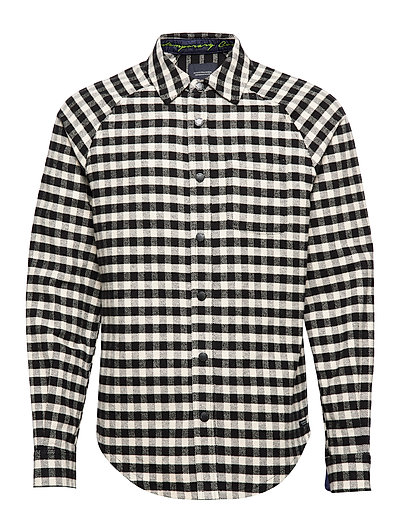 Long Sleeve Flannel Check Shirt With Cut And Sew Hemd Casual Schwarz SCOTCH & SODA