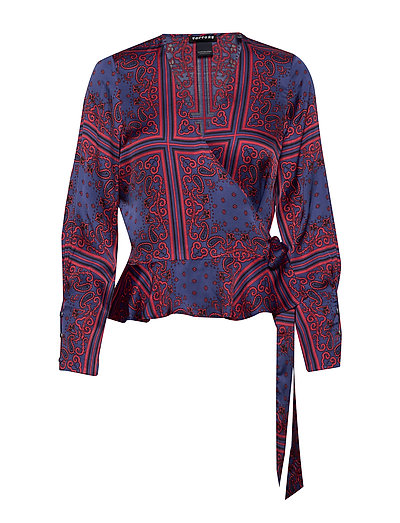 Wrap Shirt In Various Prints Bluse Langärmlig Rot SCOTCH & SODA