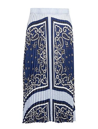 Ams Blauw Pleated Plisse Skirt Langes Kleid Blau SCOTCH & SODA