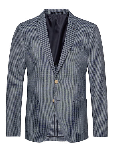 Classic Blazer In Structured Yarn-Dyed Pattern Blazer Jackett Blau SCOTCH & SODA