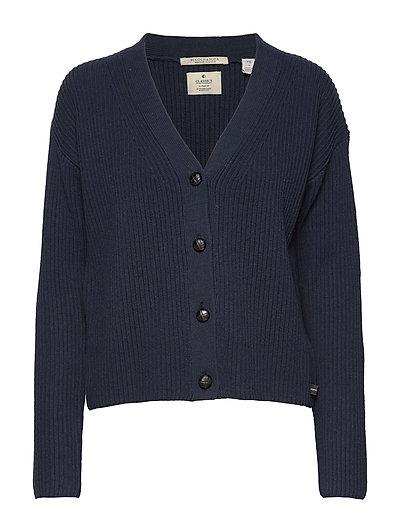 V-Neck Chunky Rib Knit Cardigan Cardigan Strickpullover Blau SCOTCH & SODA