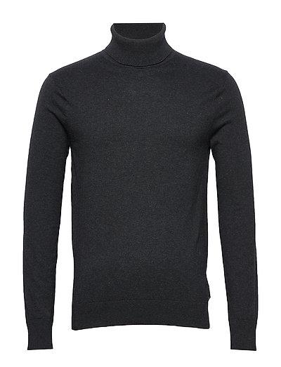 Ams Blauw Cotton Cashmere Pull With Turtle Neck Knitwear Turtlenecks Grau SCOTCH & SODA
