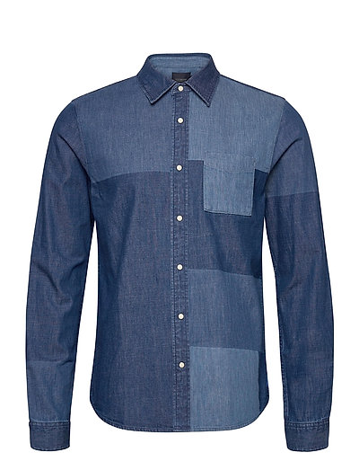 Ams Blauw Denim Shirt With Patchwork Detailing Hemd Casual Blau SCOTCH & SODA | SCOTCH & SODA SALE