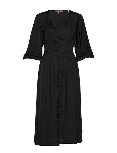 Midi Length V-Neck Dress With Ruffles Kleid Knielang Schwarz SCOTCH & SODA