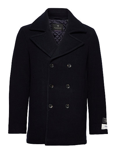 Classic Wool-Blend Peacoat With Quilted Lining Wolljacke Jacke Blau SCOTCH & SODA