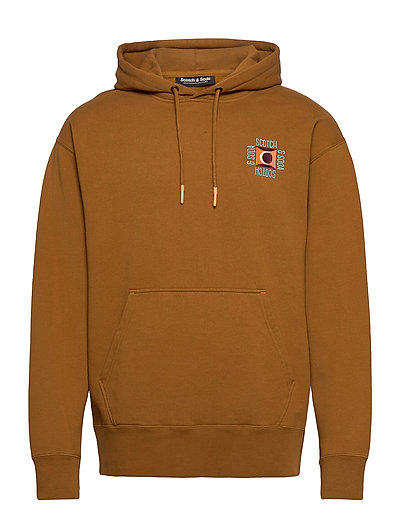 Clean Felpa Hoodie With Pop Chest Embroidery Hoodie Pullover Braun SCOTCH & SODA