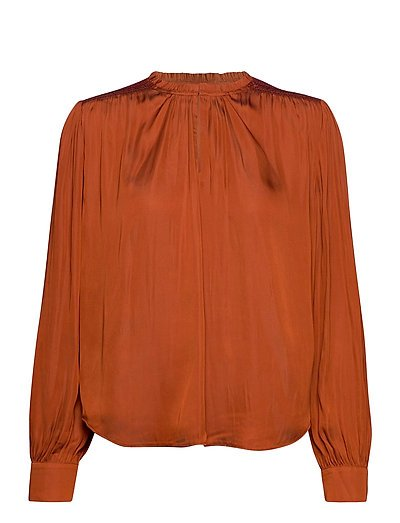 Top With Smocking Details And Ruffle Bluse Langärmlig Orange SCOTCH & SODA | SCOTCH & SODA SALE