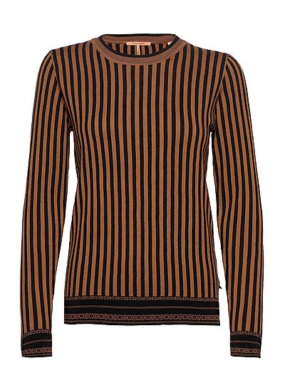 Basic Striped Pullover Strickpullover Braun SCOTCH & SODA | SCOTCH & SODA SALE