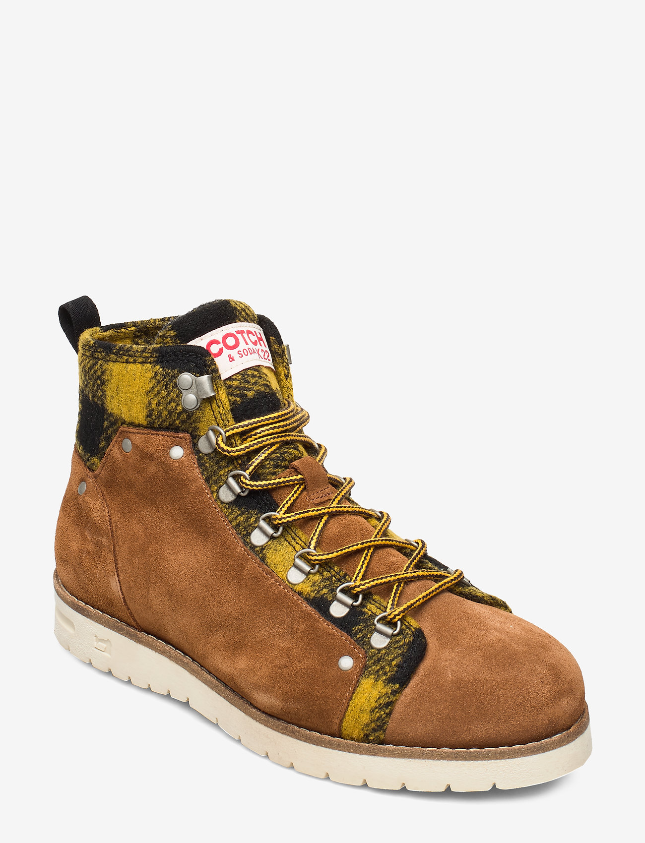 Scotch & Soda Shoes - Borrel Mid laceboot - laced boots - cognac+blk/camel - 0