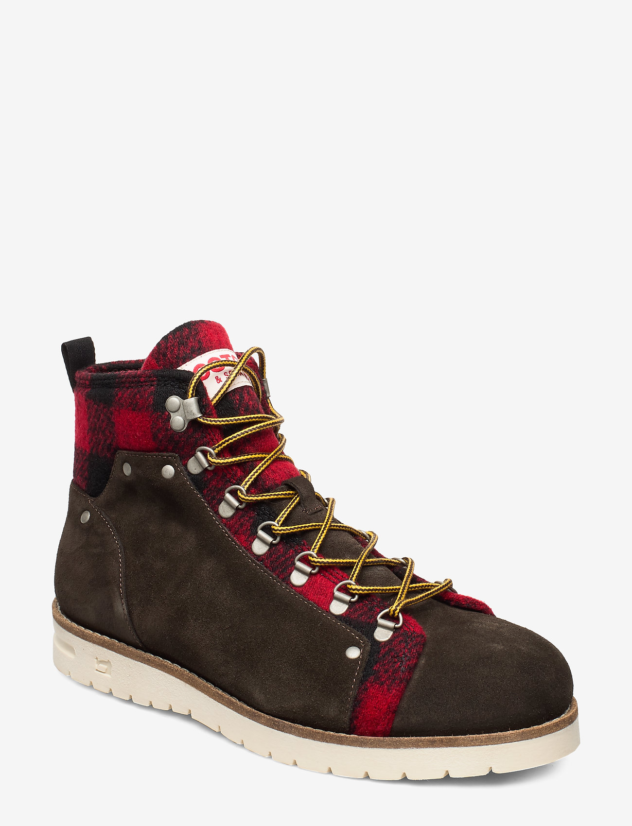 Scotch & Soda Shoes - Borrel Mid laceboot - veter schoenen - dk brown+blk/red - 0