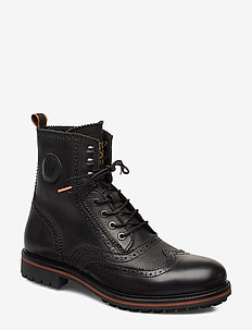Borrel Mid laceboot - brogues - black