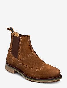Borrel Mid laceboot - chelsea boots - cognac