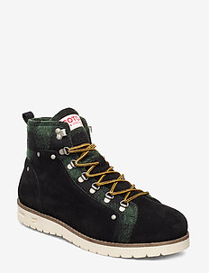 Borrel Mid laceboot - BLACK+BLK/GREEN