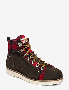 Borrel Mid laceboot - DK BROWN+BLK/RED