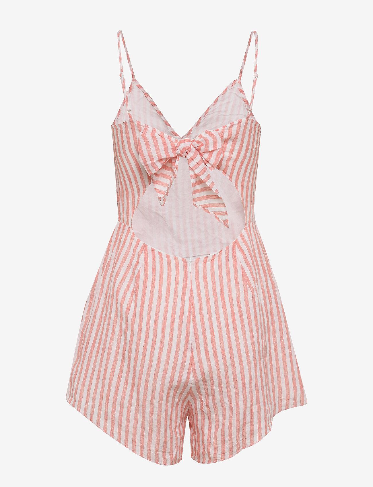 Stripe Tie Back Linen Playsuit (Vintage Coral) (50 €) - Seafolly Jdufs