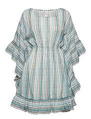 Inka Ruffled Stripe Kaftan - WHITE