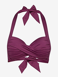 Twist Soft Cup Halter - bikini tops - boysenberry