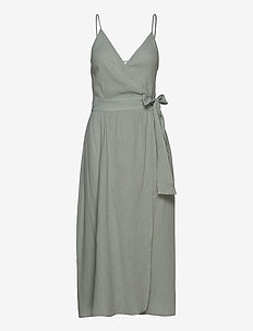 Double Cloth Wrap Dress - strandtøj - sage