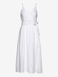 Double Cloth Wrap Dress - rantavaatteet - white