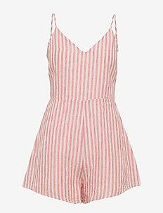 Stripe Tie Back Linen Playsuit - VINTAGE CORAL