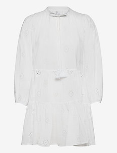 Beach Edit Embroidery Tiered Dress - strandtøj - white
