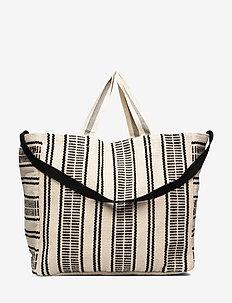 Essential Stripe Beach Tote - WHITE/BLACK