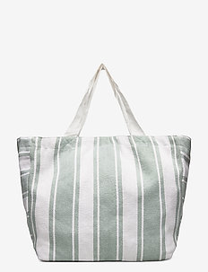 Canvas Stripe Tote - strandmode - sage