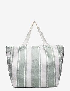Canvas Stripe Tote - strandkläder - sage