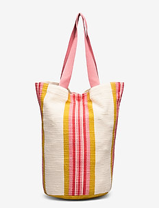 Stripe Cylinder Tote - casual shoppers - saffron