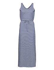 DKS Linen Jersey Maxi Dress - BLUE/OFFWHITE