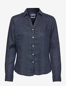 Bianca Linen Shirt - långärmade skjortor - navy old