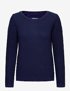Structure Knitted Crew - tröjor - navy
