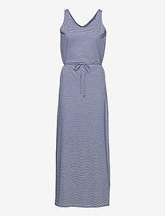 DKS Linen Jersey Maxi Dress - sommerkjoler - blue/offwhite