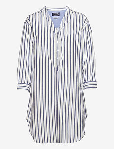 Midi Striped Cotton Dress - sommarklänningar - navy/white